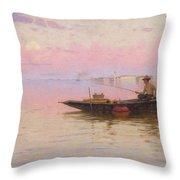 Fishing On The Lagoon, Venice, C.1890 Throw Pillow
