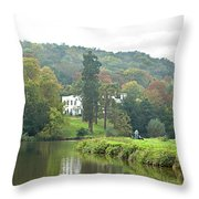 Fishing On The River Thames Throw Pillow by Gill Billington