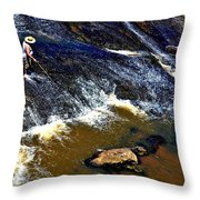 Fishing On The South Fork River Throw Pillow