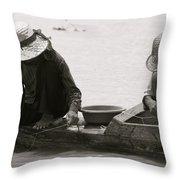 Fishing On Tonle Sap Throw Pillow