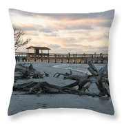 Fishing Pier And Driftwood Throw Pillow