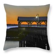 Fishing Pier At Dusk Throw Pillow