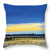 Fishing Pier At Sunset Throw Pillow