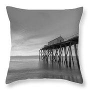 Fishing Pier Sunrise Bw 16x9 Throw Pillow