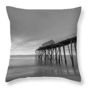 Fishing Pier Sunrise Bw Throw Pillow