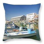 Fishing Port In Jaffa Tel Aviv Israel Throw Pillow