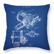 Fishing Reel Patent From 1907 - Blueprint Throw Pillow