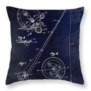 Fishing Reel Patent 1939 Blue Throw Pillow