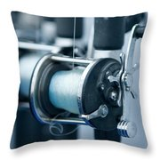 Fishing Reels On A Charter Boat Throw Pillow