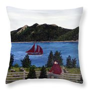 Fishing Schooner Throw Pillow