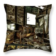 Fishing Shack Posterized Throw Pillow