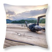 Fishing Tackle On A Wooden Float With Mountain Background In Nc Throw Pillow