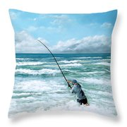 Fishing The Gutters Throw Pillow