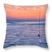 Fishing The Sunset Surf - Horizontal Version Throw Pillow