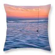 Fishing The Sunset Surf - Square Version Throw Pillow