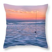 Fishing The Sunset Surf - Vertical Version Throw Pillow