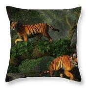 Fishing Tigers Throw Pillow