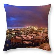 Fishing Village At Night, Lofoten Throw Pillow