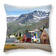 Fishing Village In Iceland Throw Pillow