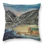 Fishing Village In  Winter Throw Pillow