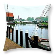 Fishing Village Marina In Zuiderzee Open Air Musuem In Enkhuizen-netherlands Throw Pillow