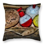 Fishing - Vintage Fish Bobbers Throw Pillow