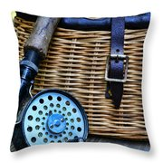 Fishing - Vintage Fly Fishing Throw Pillow