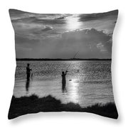 Fishing With Dad - Black And White - Merritt Island Throw Pillow