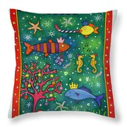 Fishy Christmas, 1997 Wc And Pastel On Paper Throw Pillow