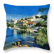 Fiskardo Beach In Kefallonia Island Throw Pillow