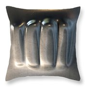 Fist Punched Metal Throw Pillow