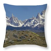 Fitz Roy Range In Springtime 2 Throw Pillow