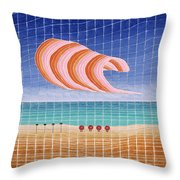 Five Beach Umbrellas Throw Pillow