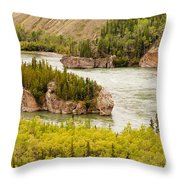 Five Finger Rapids Of Yukon River Yukon T Canada Throw Pillow