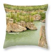 Five Finger Rapids Rocks Yukon River Yt Canada Throw Pillow