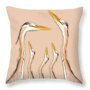 Five Herons Throw Pillow