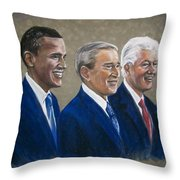 Five Living Presidents 2009 Throw Pillow by Martha Suhocke