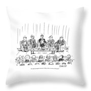 Five Men Sit On A Stage In Front Of An Audience Throw Pillow