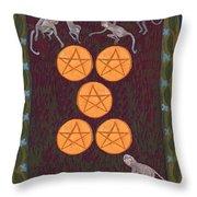 Five Of Pentacles Throw Pillow