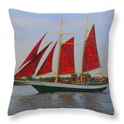 Five Red Sails Throw Pillow