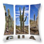 Five Saguaros Throw Pillow