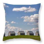 Five Sheds On The Alberta Prairie Throw Pillow