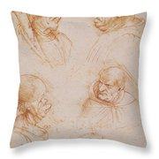 Five Studies Of Grotesque Faces Throw Pillow by Leonardo da Vinci