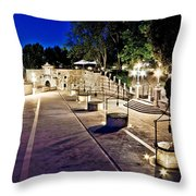 Five Well Square In Zadar Evening View Throw Pillow