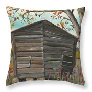 Autumn - Shack - Woodshed Throw Pillow