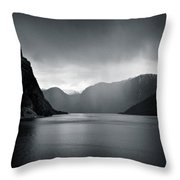 Fjord Rain Throw Pillow by Dave Bowman