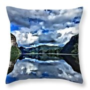 Fjords Of Norway Throw Pillow