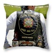 Fla Post 4143 Vfw Rider Color Usa Throw Pillow