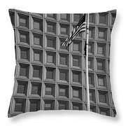 Flag And Windows In Black And White Throw Pillow