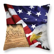 Flag Constitution Eagle Throw Pillow by Daniel Hagerman